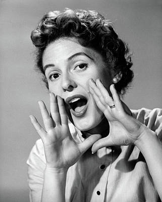 1950s Character Woman Shouting Hands Poster