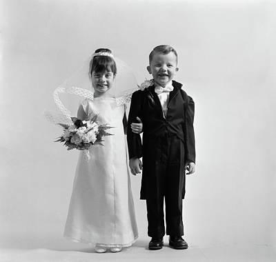 1950s Children Groom Bride Wedding Poster