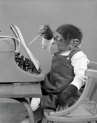 1950s Chimp In Overalls Sitting Poster