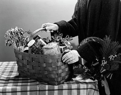 1950s Christmas Gift Food Basket Filled Poster
