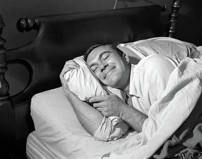1950s Close-up Of Man Sleeping Poster