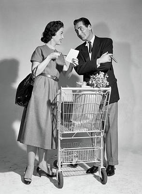 1950s Couple Man Woman Shopping Cart Poster