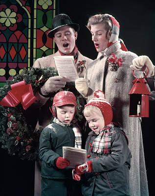 1950s Family Singing Christmas Carols Poster
