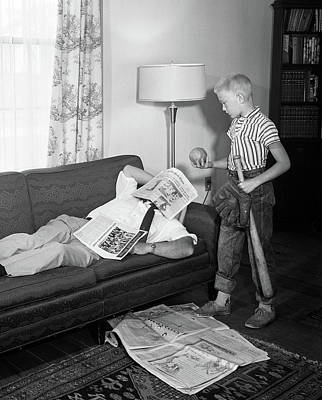 1950s Father Lying On A Sofa Poster