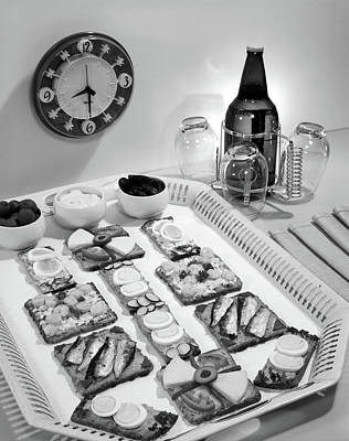 1950s Finger Food Snacks And Bottled Poster