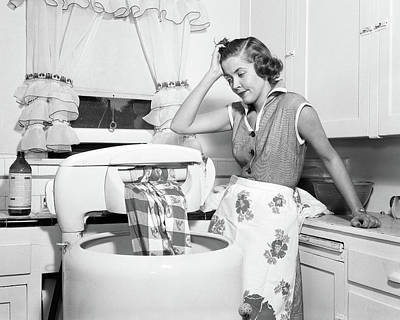 1950s Frustrated Housewife With Jammed Poster