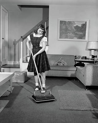 1950s Girl Using Non Electric Vacuum Poster