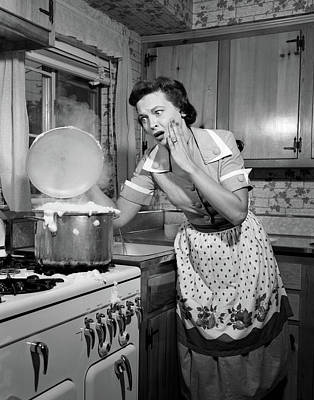 1950s Horrified Woman Housewife Taking Poster