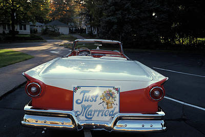 1950s Just Married Sign On Back Of Ford Poster