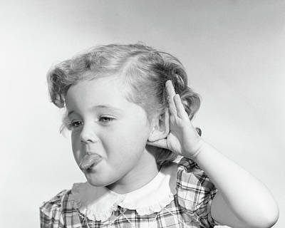 1950s Little Girl Making Rude Gesture Poster