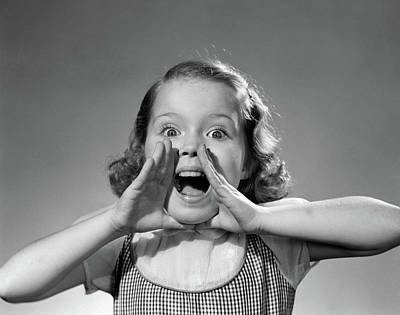 1950s Little Girl Shouting Yelling Poster