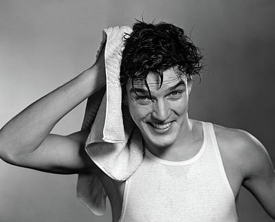 1950s Man Drying Hair After Shower Poster