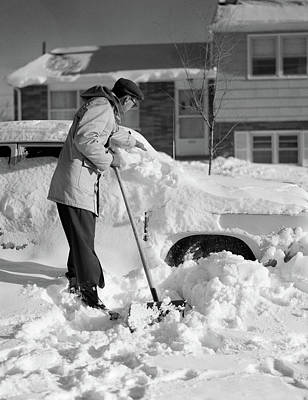 1950s Man With Snow Shovel Digging Poster