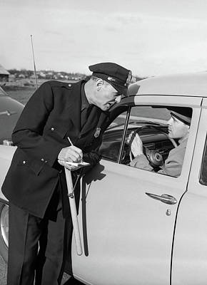 1950s Policeman With Stopped Motorist Poster