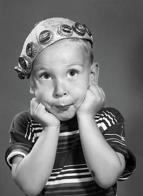 1950s Portrait Of Boy Resting Head Poster