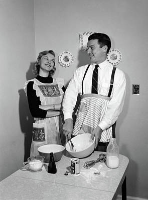 1950s Satisfied Amused Smiling Couple Poster