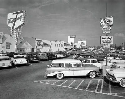 1950s Shopping Center Parking Lot Poster
