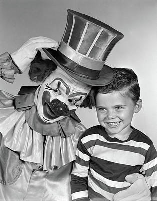 1950s Smiling Clown With Top Hat Arm Poster