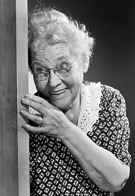 1950s Smiling Elderly Woman Peeking Poster