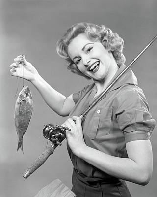 1950s Smiling Woman With A Fishing Rod Poster