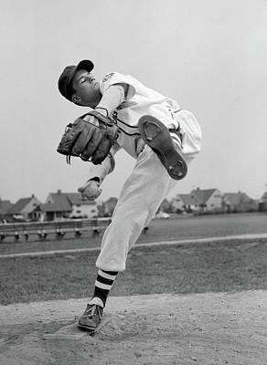 1950s Teen In Baseball Uniform Winding Poster