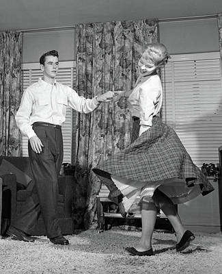 1950s Teenage Couple Jitterbug Dancing Poster