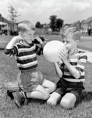 1950s Two Young Boys One Blowing Poster