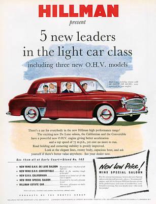 1950s Uk Hillman Magazine Advert Poster