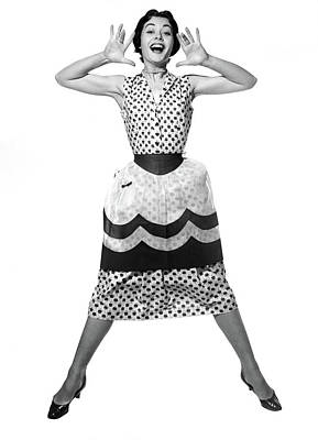 1950s Woman In Dress & Apron Jumping Poster