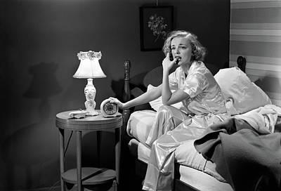 1950s Woman Silk Pajamas Sitting Edge Poster
