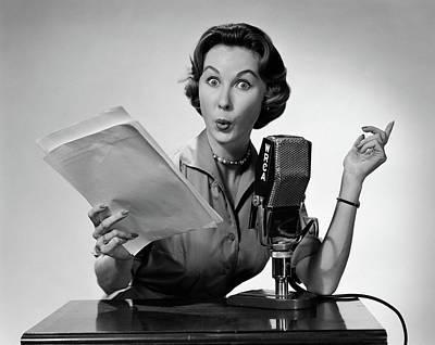 1950s Woman Talking Into Radio Poster