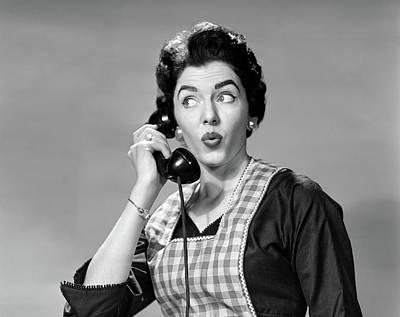 1950s Woman Wearing Apron Talking Poster