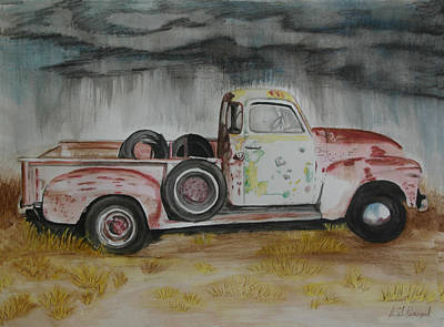 1951 Gmc Truck With Charactor Poster by L J Penrod