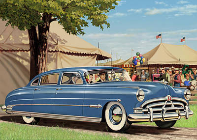 1951 Hudson Hornet Blank Greeting Card Poster by Walt Curlee
