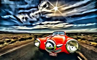 1951 Red Studebaker Poster
