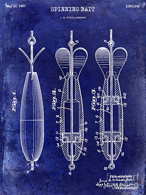 1951 Spinning Bait Patent Drawing Blue Poster