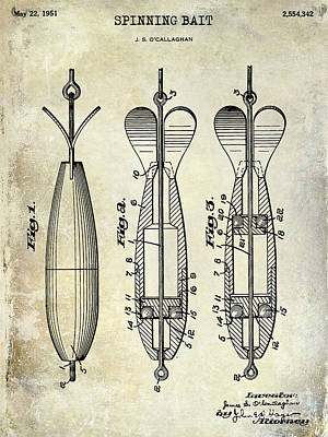 1951 Spinning Bait Patent Drawing Poster