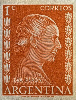 1952 Eva Peron Argentina Stamp Poster
