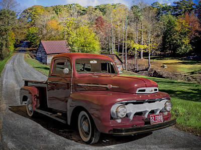 1952 Red Ford Truck Poster by Debra and Dave Vanderlaan