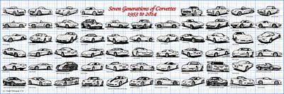 1953-2014-corvettes Poster