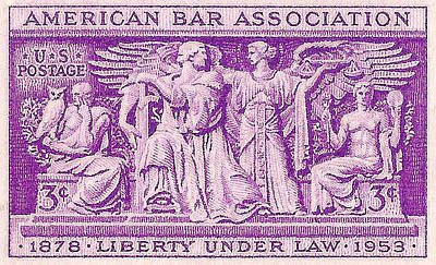 1953 American Bar Association Postage Stamp Poster by David Patterson