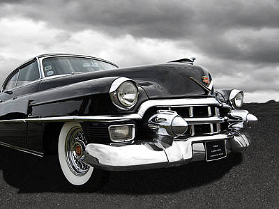 1953 Cadillac Coupe De Ville Black And White Poster by Gill Billington