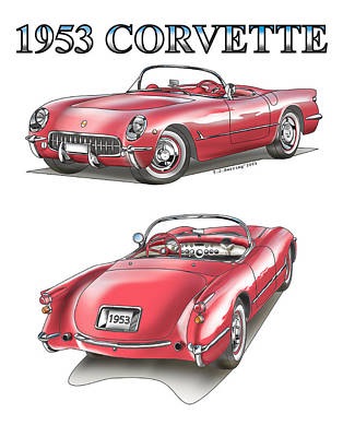 1953 Corvette Poster by Thomas J Herring