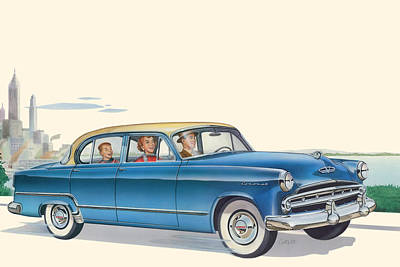 1953 Dodge Coronet Antique Car - Nostagic Americana - Vintage Tranportation Poster by Walt Curlee