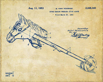 1953 Horse Toy Patent Artwork Vintage Poster