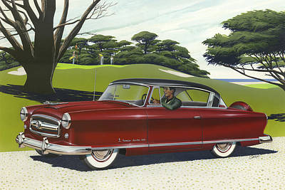 1953 Nash Rambler Car Americana Rustic Rural Country Auto Antique Painting Red Golf Poster by Walt Curlee