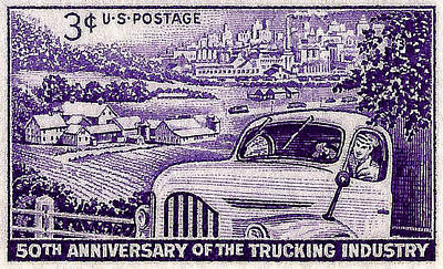 1953 Trucking Industry Postage Stamp Poster by David Patterson