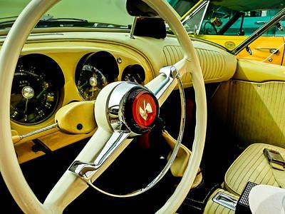 1954 Kaiser Darrin Steering Wheel And Dashboard Poster by Jon Woodhams