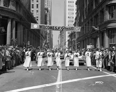 1954 World Series Champions Giants Parade Retro Cheerleaders Poster
