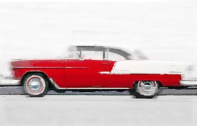 1955 Chevy Bel Air Watercolor Poster by Naxart Studio